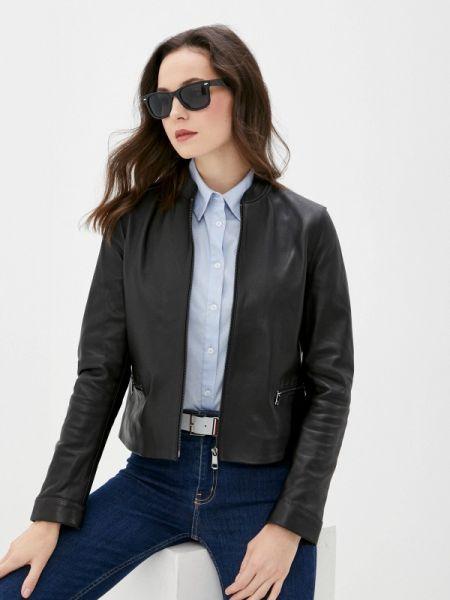 Кожаная черная кожаная куртка Tommy Hilfiger
