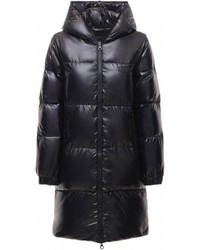 Пуховая черная куртка с капюшоном Duvetica