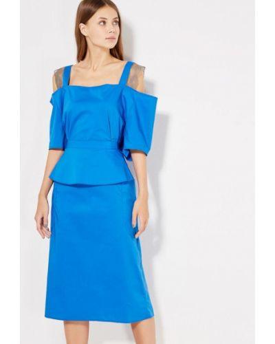 Синее платье с открытыми плечами Love & Light
