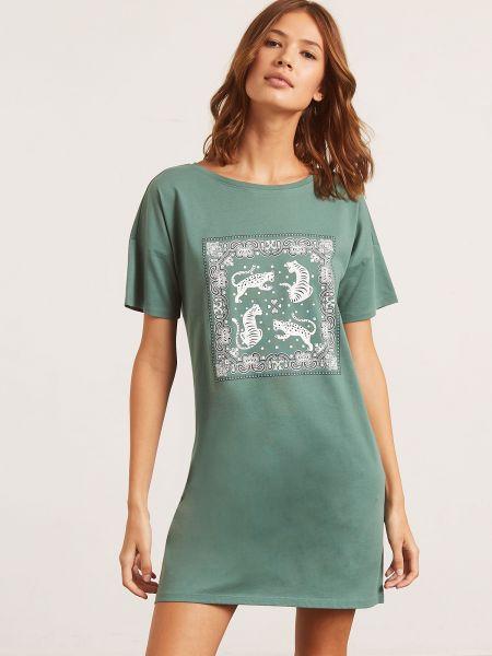 Koszula nocna krótki rękaw - zielona Etam