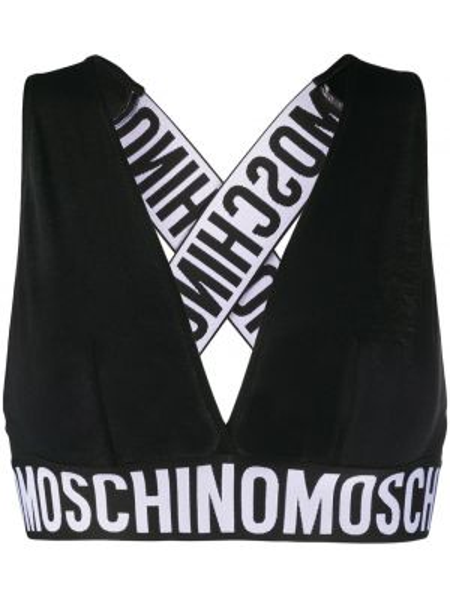 Czarny biustonosz trójkątny bawełniany Moschino Underwear