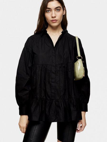 Блузка с длинным рукавом черная весенний Topshop