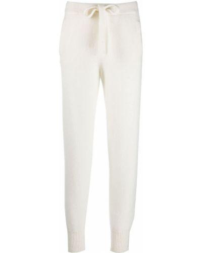 С кулиской белые шелковые спортивные брюки с поясом Laneus