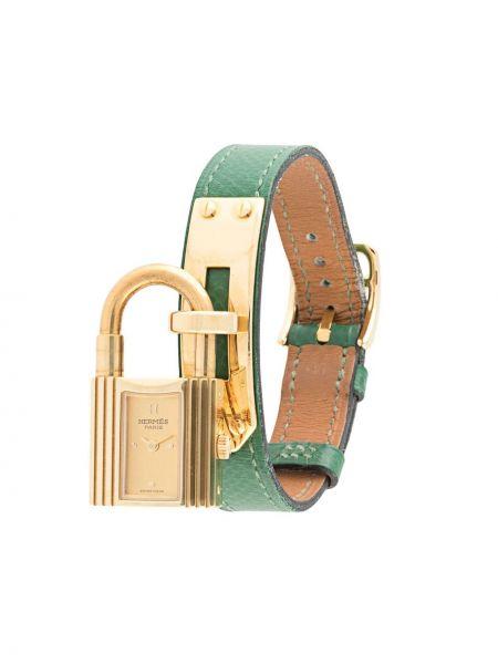 Zielony złoty zegarek na skórzanym pasku pozłacany Hermes