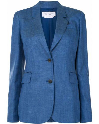 Шерстяной синий удлиненный пиджак на пуговицах Gabriela Hearst