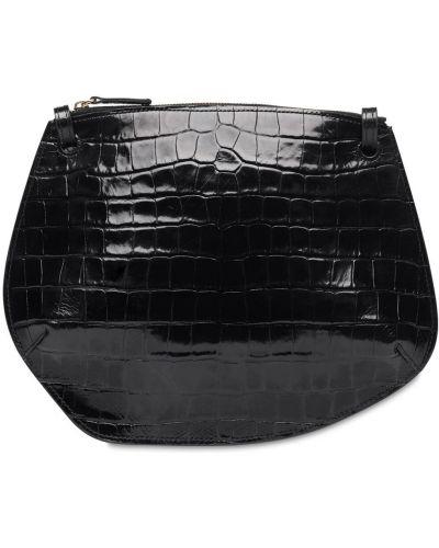 Skórzany czarny torba crossbody z kieszeniami wytłoczony Little Liffner