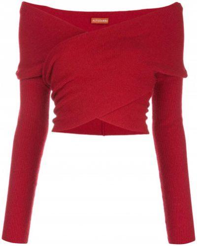 С рукавами красный шерстяной вязаный джемпер с открытыми плечами Altuzarra