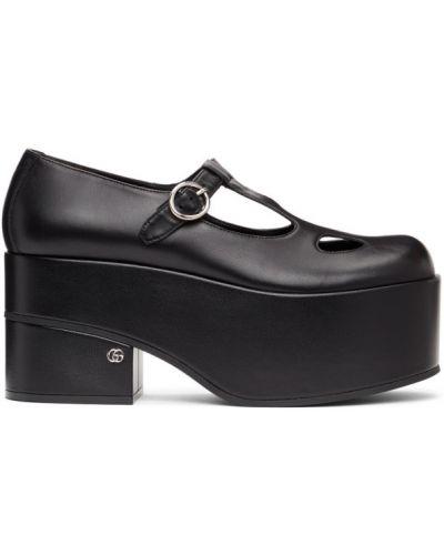 Z paskiem skórzany czarny loafers Gucci