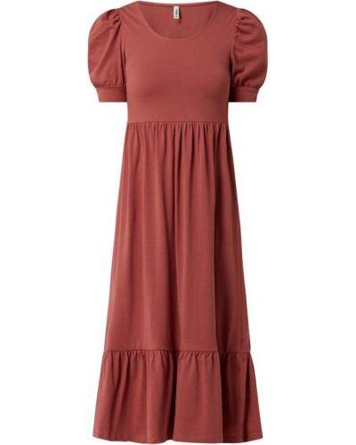 Sukienka mini rozkloszowana z falbanami bawełniana Only
