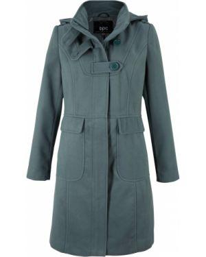 Пальто с капюшоном демисезонное зеленое Bonprix