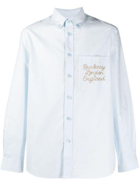 Niebieski bawełna koszula z haftem z mankietami Burberry