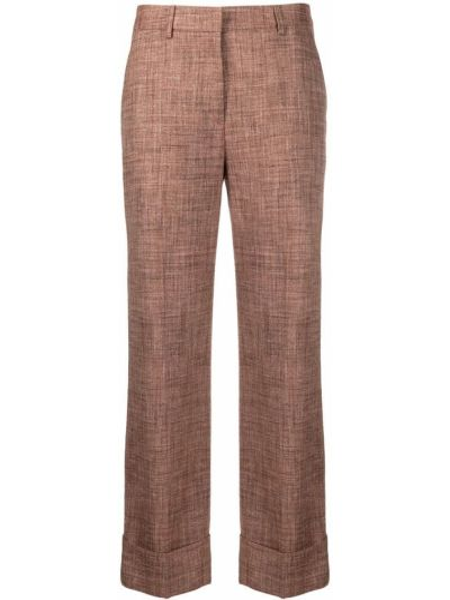 Шелковые коричневые укороченные брюки с карманами Lardini