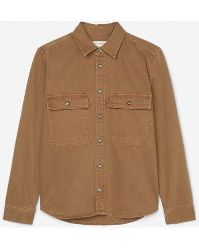 Brązowa kurtka jeansowa bawełniana zapinane na guziki Marc O Polo