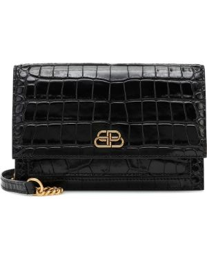 Черная кожаная сумка через плечо с тиснением Balenciaga