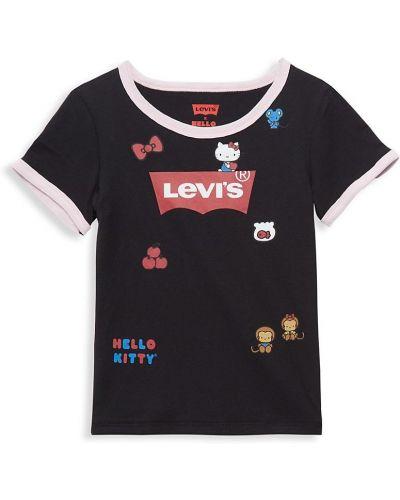 Хлопковая черная футболка с короткими рукавами Levi's®