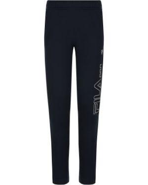 Спортивные зауженные синие брюки на молнии Fila