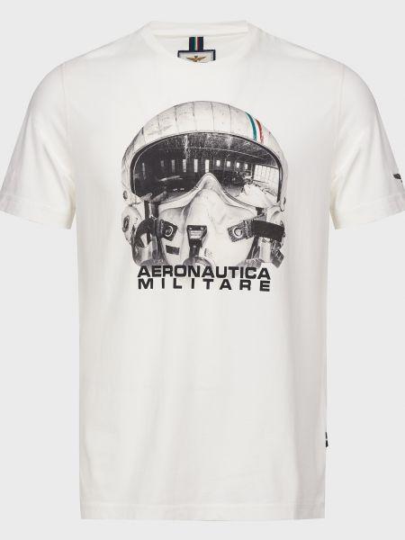 Хлопковая белая футболка Aeronautica Militare