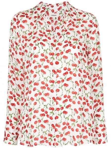 Шелковая красная длинная рубашка на пуговицах L'agence