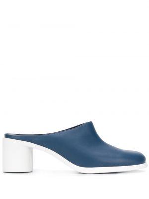 Синие кожаные мюли на каблуке без застежки Camper