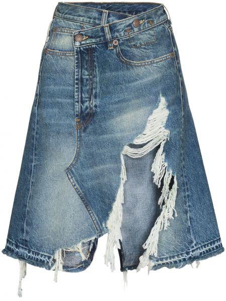 Niebieski bawełna bawełna spódnica mini R13