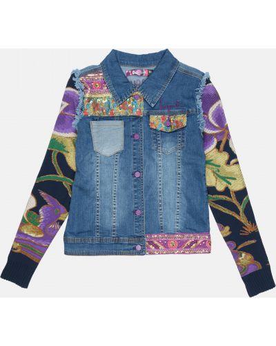 Синяя джинсовая куртка с вышивкой с карманами Desigual