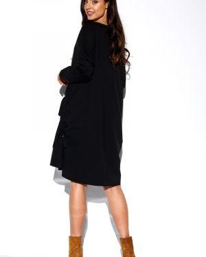 Ciepła czarna sukienka oversize Lemoniade