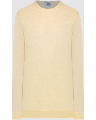 Желтый шерстяной свитер Prada