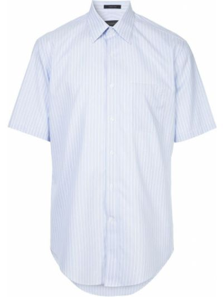 Городская хлопковая синяя рубашка с короткими рукавами D'urban