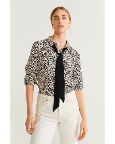 Блузка с длинным рукавом однотонная винтажная Mango