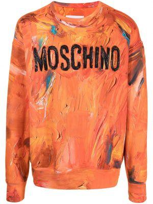 Оранжевая толстовка длинная Moschino