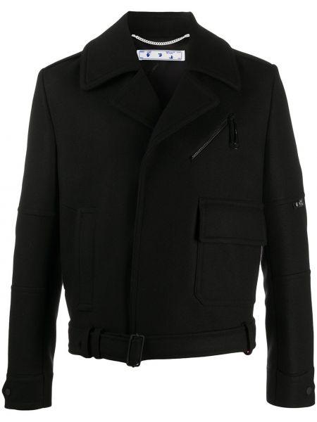 Akryl biały długa kurtka z kieszeniami z długimi rękawami Off-white