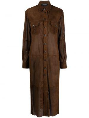 Коричневая кожаная длинная куртка с воротником Simonetta Ravizza