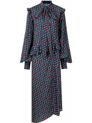 Niebieska sukienka długa z printem Rokh