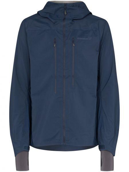 Тонкая синяя куртка с капюшоном с манжетами с вышивкой Norrona