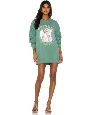 Zielony sweter bawełniany z printem Boys Lie