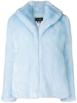 Прямая синяя длинная куртка из искусственного меха с воротником La Seine & Moi