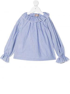 Хлопковая белая блузка с длинными рукавами La Stupenderia