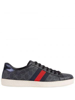 Brezentowy czarny sneakersy na sznurowadłach okrągły Gucci