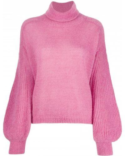 С рукавами розовый джемпер из мохера с манжетами Alberta Ferretti