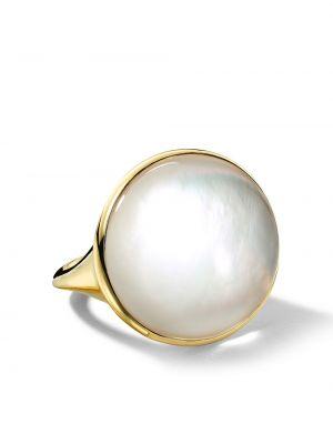 Золотистое кольцо золотое с жемчугом Ippolita