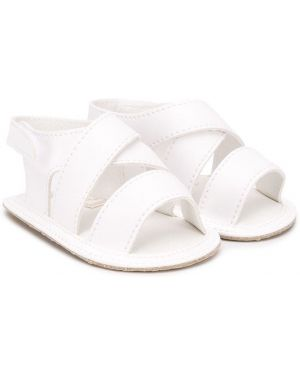Białe sandały bawełniane peep toe Aletta