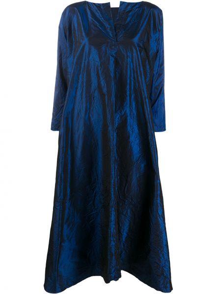 Синее шелковое расклешенное платье с вырезом Daniela Gregis