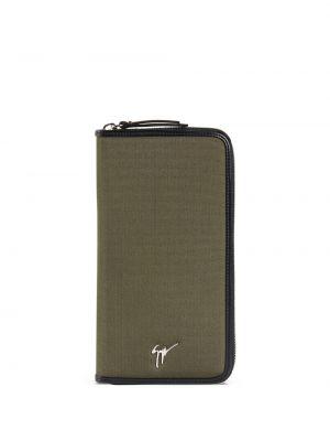 Skórzany portfel skórzany khaki z kieszeniami z gniazdem Giuseppe Zanotti