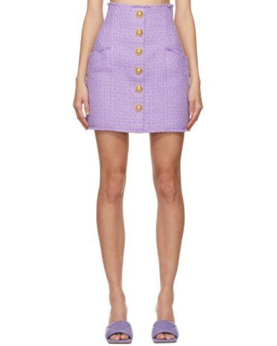 Фиолетовая юбка твидовая с карманами Balmain