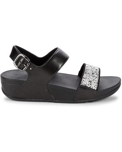 Czarne sandały na platformie klamry Fitflop