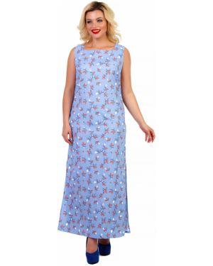 Льняное летнее платье без рукавов прямоугольное с вырезом Liza Fashion