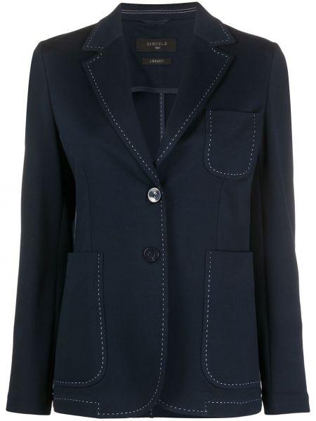 Хлопковый синий удлиненный пиджак с карманами Circolo 1901