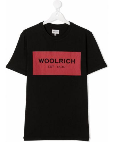 Прямая хлопковая черная рубашка с короткими рукавами Woolrich Kids