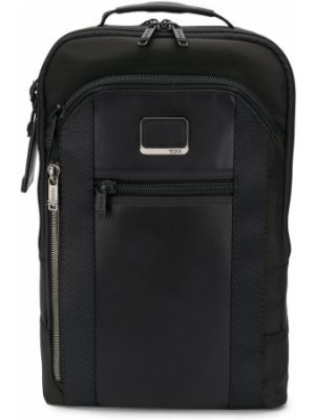 Кожаный черный рюкзак на бретелях с карманами Tumi