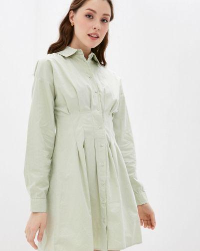 Бирюзовое платье-рубашка Defacto